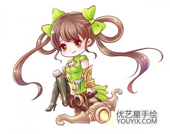 q版王者荣耀孙尚香动漫插画绘画步骤教程图片 教你画可爱大小姐