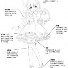 动漫插画女生的裙子画法 洛丽塔风格女生裙子礼服全身一套讲解