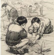 70/80童年场景素描速写作品图片 满满回忆 打弹珠玩单杠的学生时代