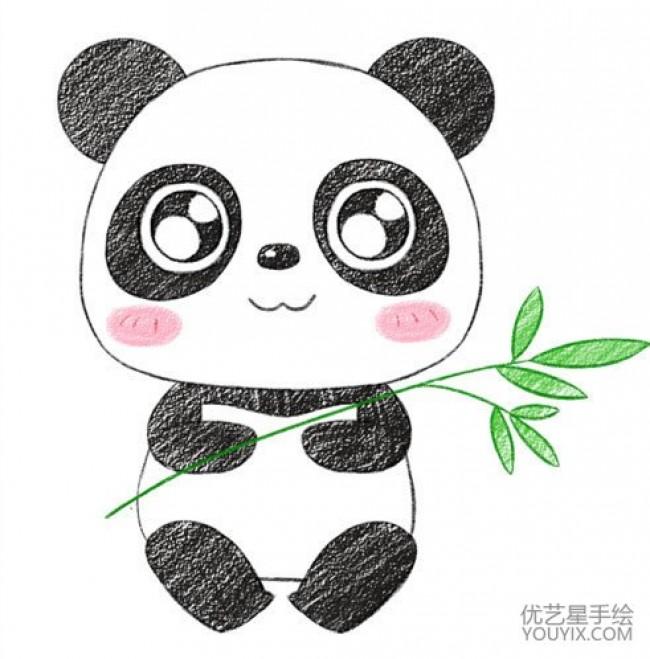 """一说起熊猫,人们自然会想到熊猫黑黑的眼圈,正在吃竹子的样子,憋得真可笑,这次小编来介绍关于熊猫的一些特征吧。 大熊猫有胖胖的身子,像穿了一件黑白相间的外衣,三角形的耳朵,黑黑的眼睛像戴了大墨镜似的,鼻子像一块小蛋糕一样,上面有黑色的巧克力,下面有白色的奶油,我都想吃了。小小的嘴在鼻子下好像被连了起来。它的四肢像带毛的小黑柱子。 它的爪子可以轻易的把竹子抓到嘴里,尾巴像一个黑毛毛球,非常可爱可爱。熊猫有几分像熊,还有几分像猫,怪不得大家都叫它熊猫。胖胖的身体,肥肥的四肢,最有趣的是那特大号的""""墨"""