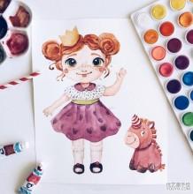 可爱萌的Q版小女孩水彩插画图片 俏皮可爱小女生水彩画