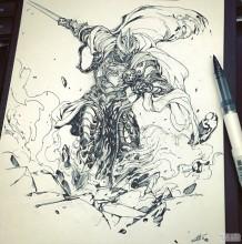超棒的黑白动漫人物插画手绘稿图片 韩国画师Stato Ozo 钢笔线稿