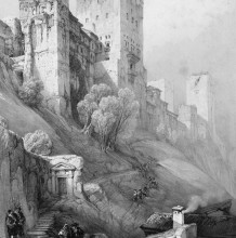 精湛的建筑风景素描作品 大卫·罗伯兹建筑风景素描图片 细部刻画超棒