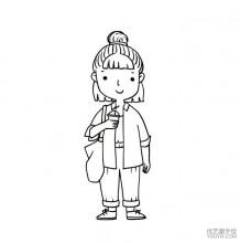 现代都市感的Q版可爱小女生简笔画线稿图片 很时尚潮流的感觉哦