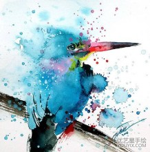 泼墨手法的唯美动物水彩插画图片 新加坡艺术家Tilen Tiu