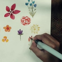 【视频】很简单的小清新花卉水彩画手绘视频教程 简单的花朵叶子植物元素水