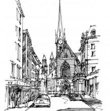 非常优秀的建筑钢笔速写 大神建筑钢笔速写效果图图片