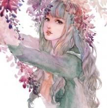 色彩唯美清新透亮女生水彩画图片 非常有意境优美的感觉
