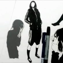 【视频】五个不同姿势的少女黑白插画 剪影效果很唯美有意境