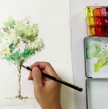 【视频】用水彩画出一颗很漂亮的树木手绘视频教程 很简洁也很清新