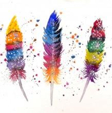 【视频】五彩色的羽毛水彩手绘视频教程 唯美清新浪漫的羽毛画