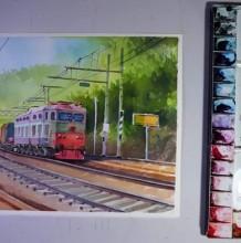 【视频】优美的郊外火车风景水彩画手绘视频教程 很美好的感觉