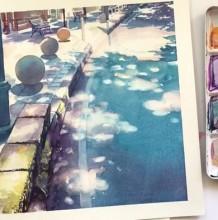 【视频】阳光明媚的街道一角景观水彩画手绘视频教程