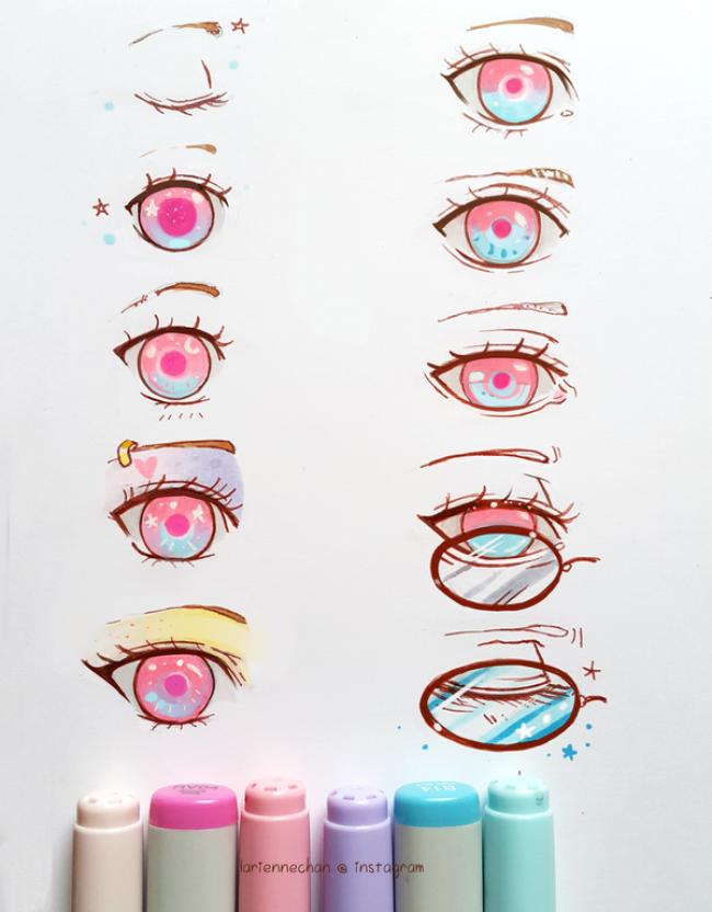 视频 超美的马克笔动漫眼睛的画法图片演示发光星空般的眼睛画法 3