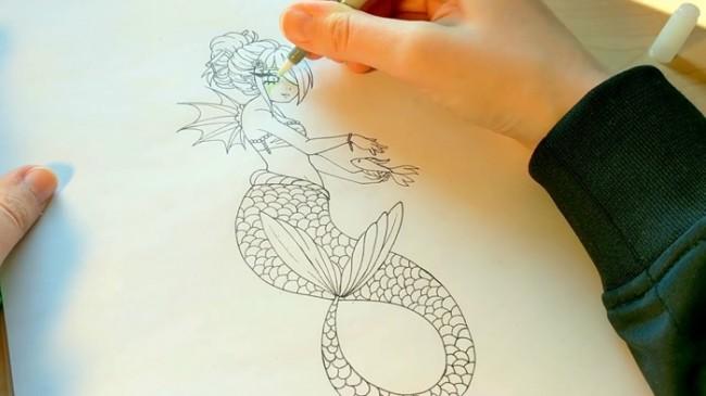 视频】很简单的美人鱼马克笔上色视频技巧教程googlesketchup教程8图片