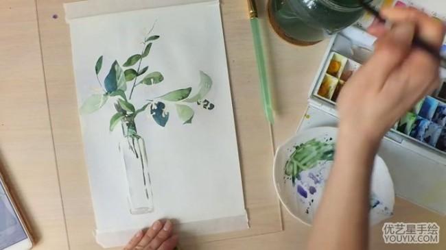 【视频】好看的玻璃花瓶与绿色树枝装饰水彩画视频教程画法