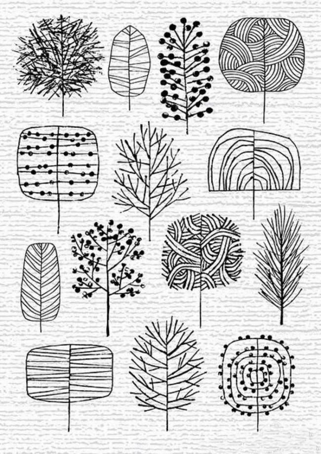 14种最简单的小树的画法 树木简笔画卡通画教程