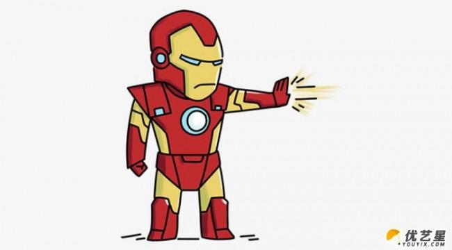 发出攻击的钢铁侠怎么画 简单可爱的钢铁侠画法 钢铁侠简笔画 钢铁侠