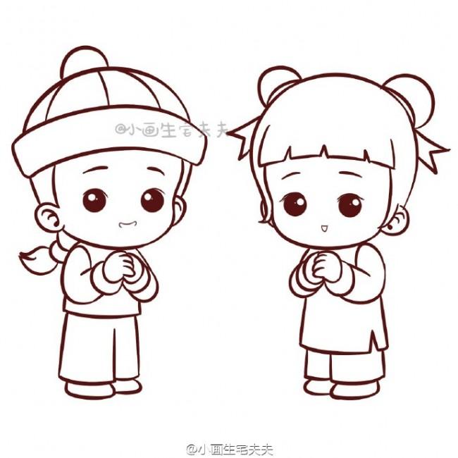 恭贺状童男童女简笔画教程 古代服饰装扮小男生女孩怎么画 2
