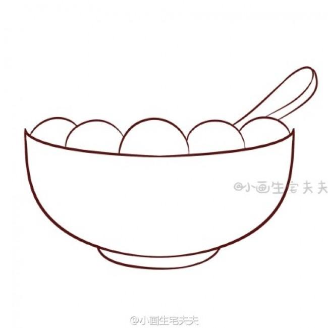 一碗汤圆简笔画 汤圆的简笔画画法 可爱的汤圆怎么画 卡通画