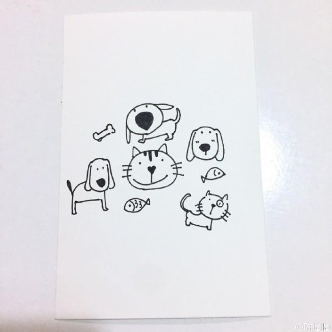 猫狗的简笔画 可爱简单的猫和狗的简笔画教程图片