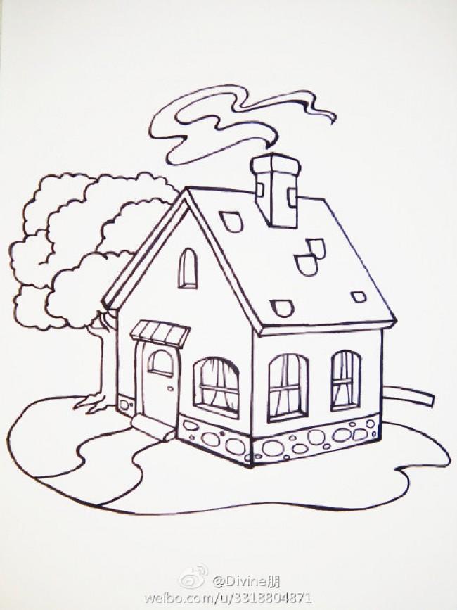 房子简笔画 儿童画房子图片 彩色色彩搭配和绘画步骤画法教程