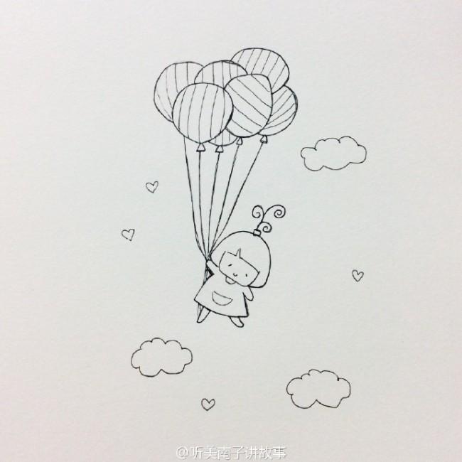 抓着气球飞翔的简笔画教程 可爱唯美的小女孩和气球的简笔画画法图片