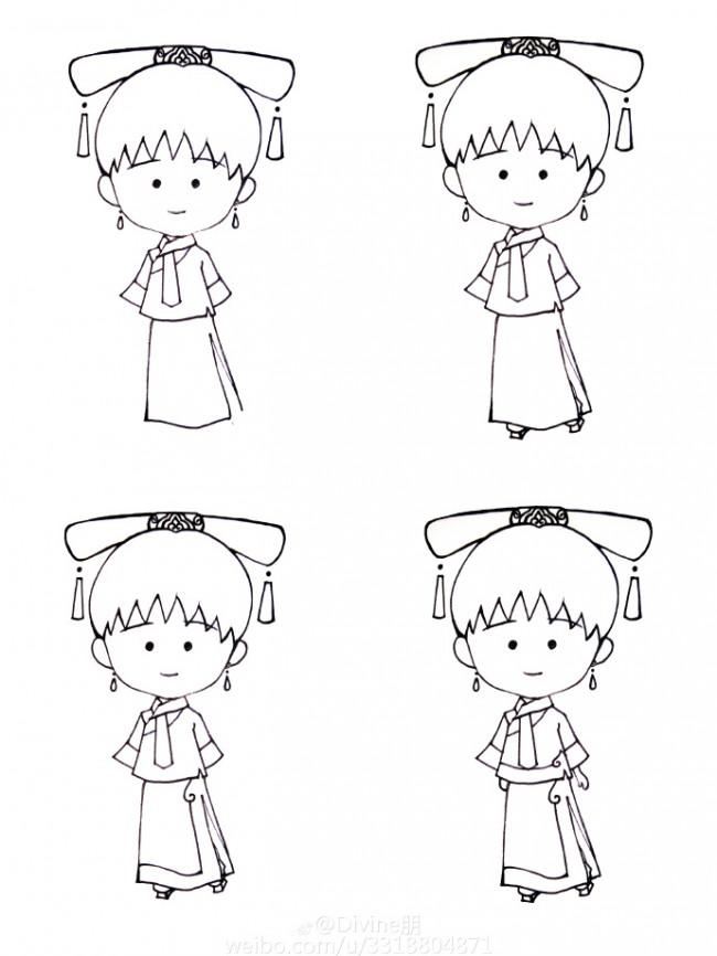小丸子版古代宫女简笔画教程图片 脑洞大开可爱搞笑版大明宫词小宫女