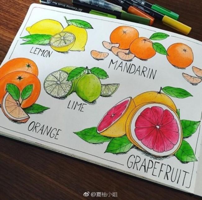 甜品甜点系列简笔画作品图片彩色素材 冰激凌 蛋糕 水果饮料
