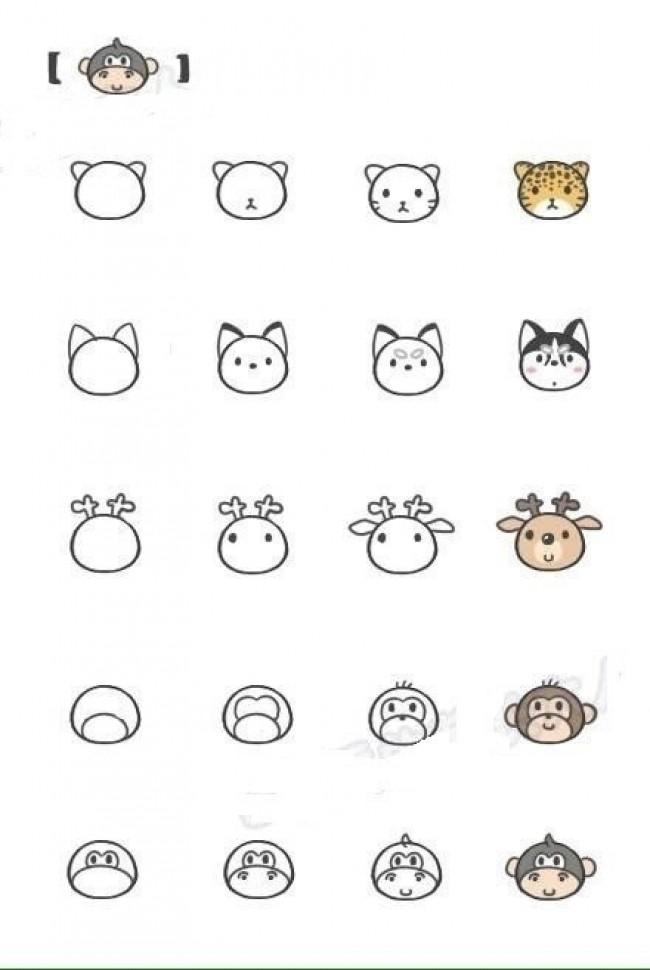 可爱小动物简笔画大全图片可爱小动物怎么画45款常见小动物的简笔画画法