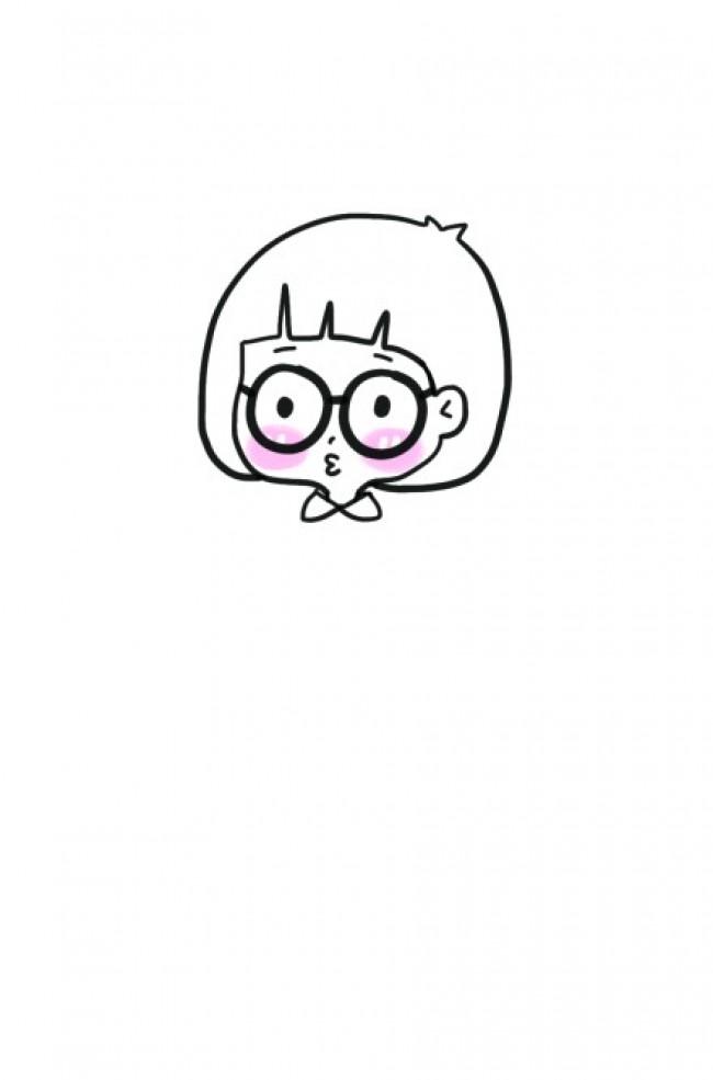 女孩简笔画教程图片 斜挎包戴眼镜蘑菇头不想长大的女孩子