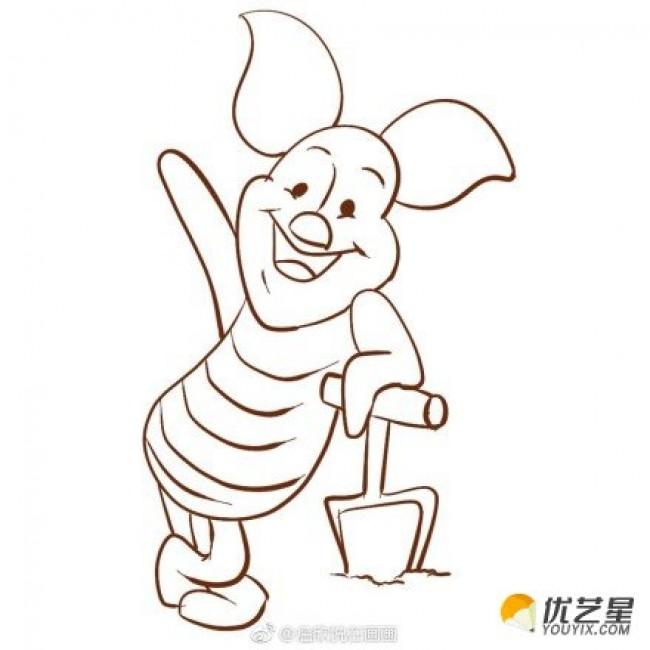 可爱的小猪皮杰简笔画教程图片彩色 爱劳动的小猪简笔画画法