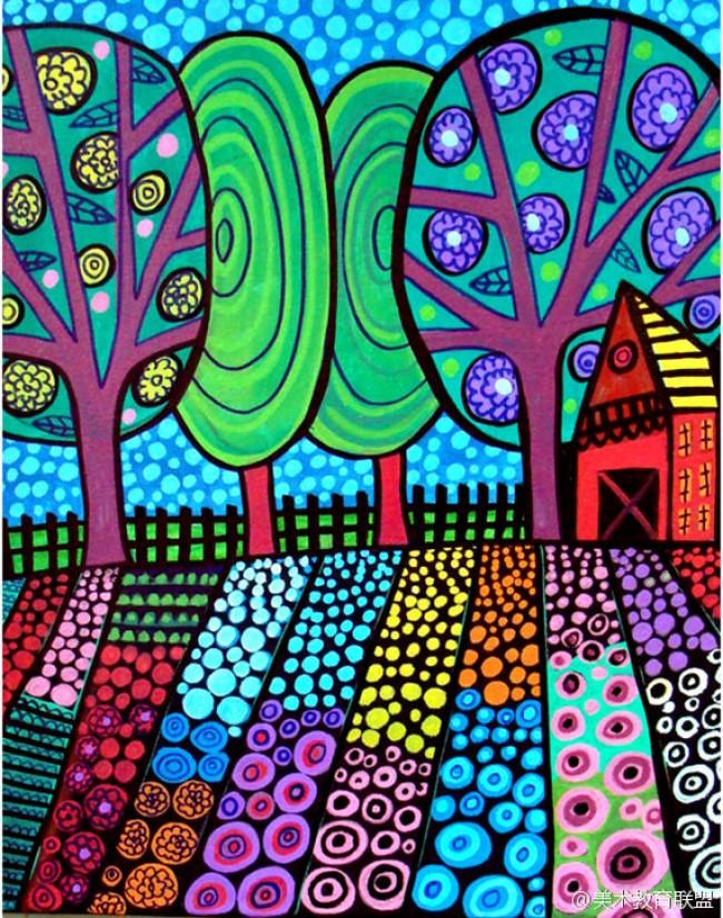 用水彩笔涂鸦风格绘制动的景物图片 纽约著名艺术家Heather Galler