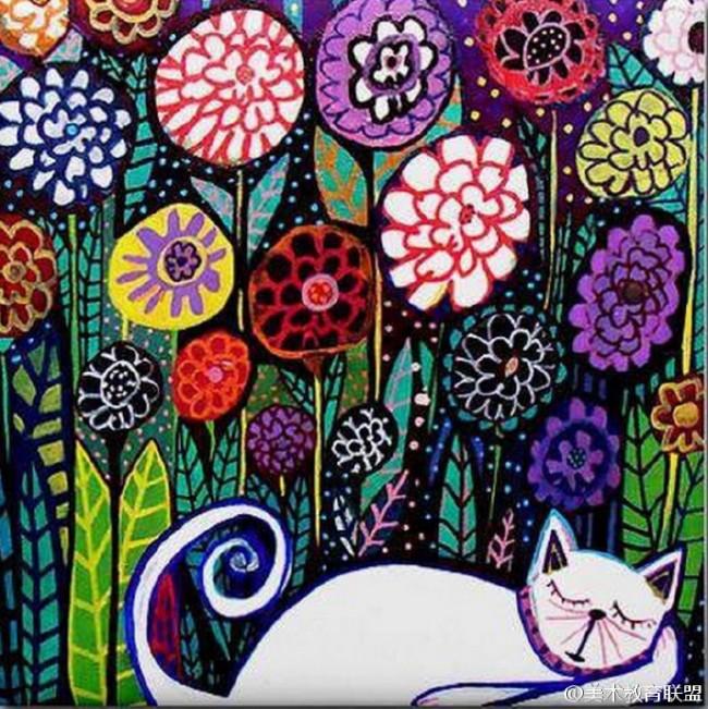 用水彩笔涂鸦风格绘制动的景物图片 纽约著名艺术家Heather Galler_www.youyix.com