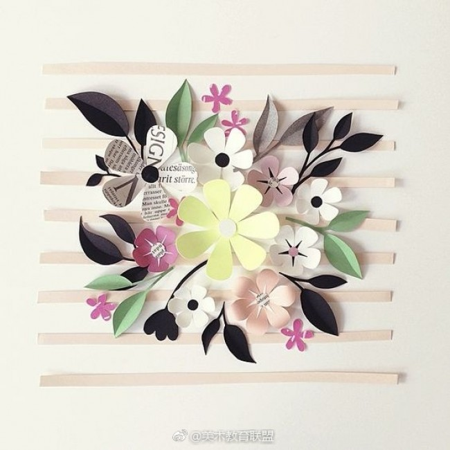 用剪纸创作的艺术画 清新唯美 艺术家Hanna Nyman的美丽纸花艺术作品_www.youyix.com