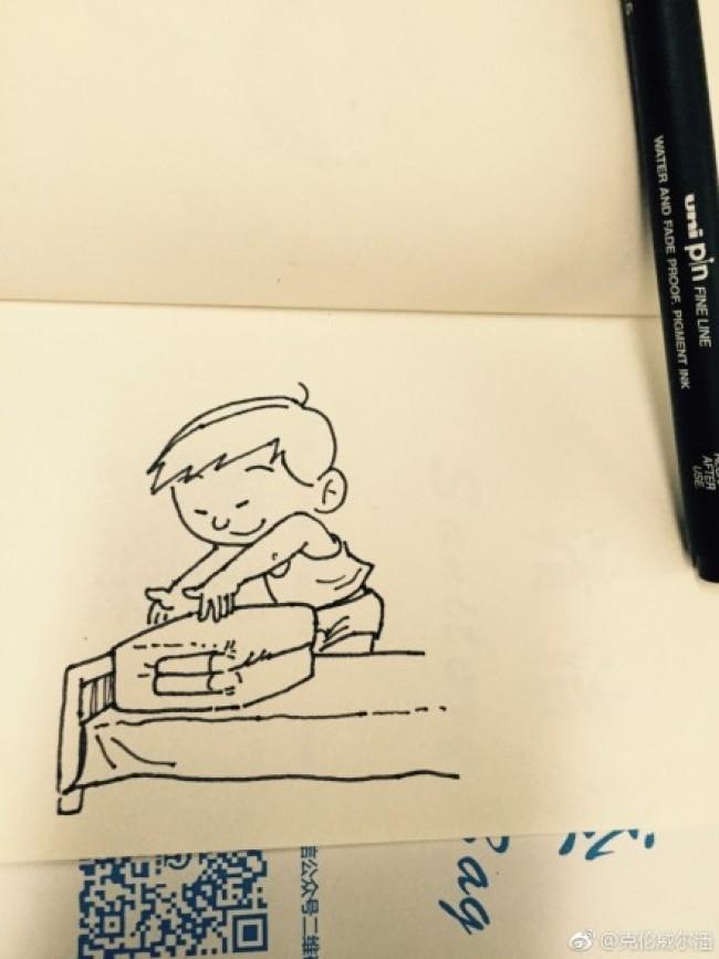 做家务叠被子的简笔画教程图片 勤奋做家务叠被子的小男孩简笔画