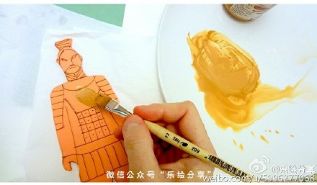 创意秦始皇兵马俑剪纸作品 可做为印章 有趣好玩的剪纸画_www.youyix.com