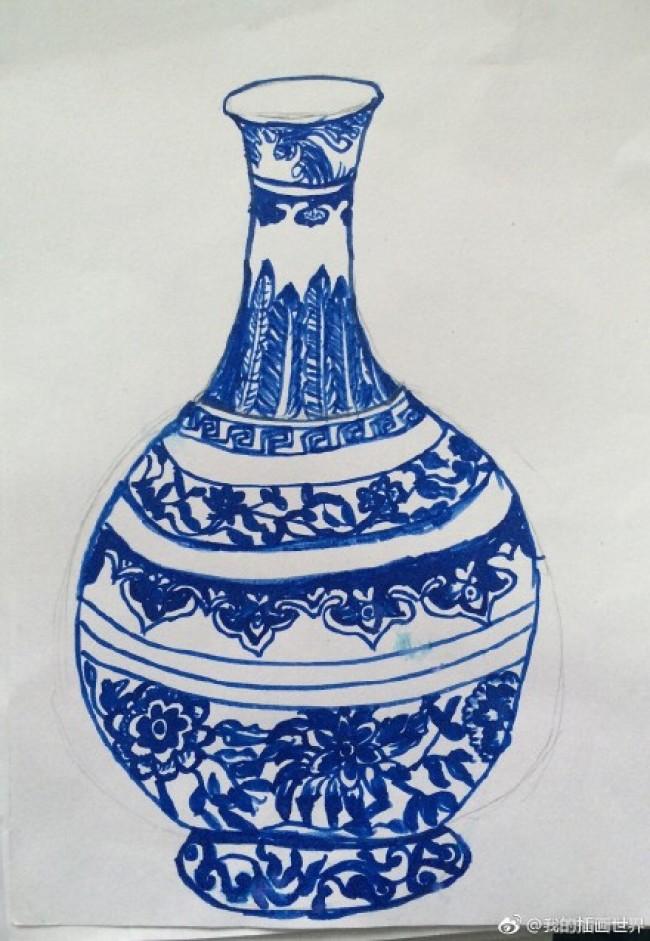 青花瓷的儿童画图片素材 儿童画版青花瓷图片_www.youyix.com