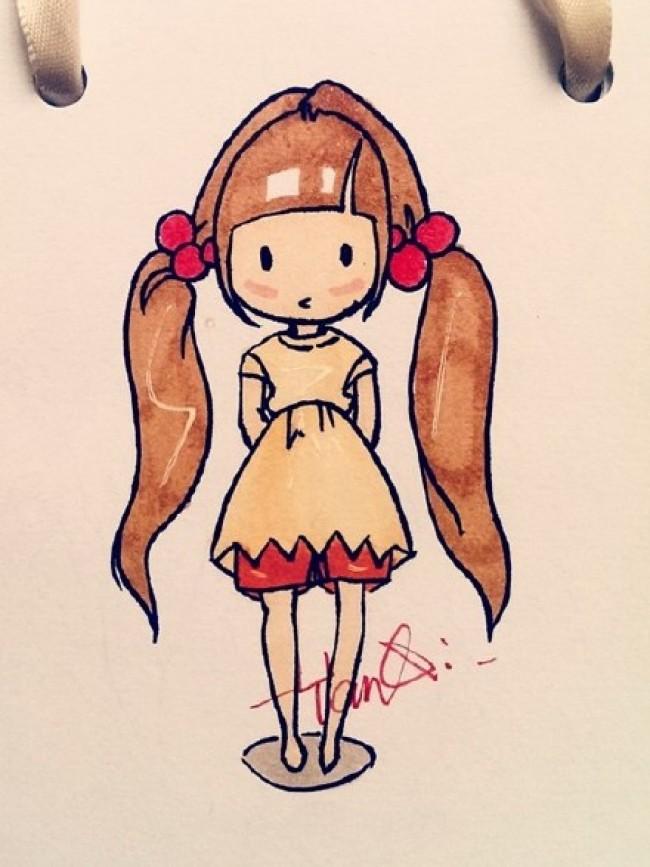 伊的美少女萝莉简笔画手绘图片彩色 2