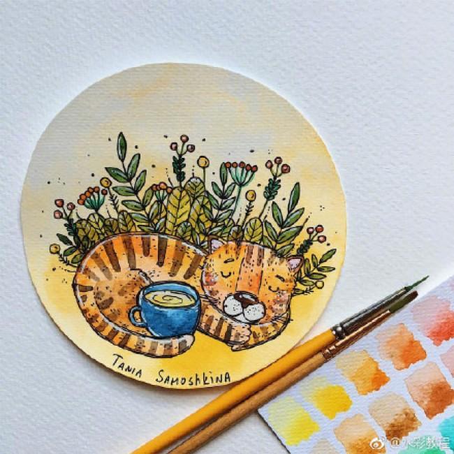 国外色彩明亮的儿童画水彩作品欣赏图片 samoshkina_art _www.youyix.com