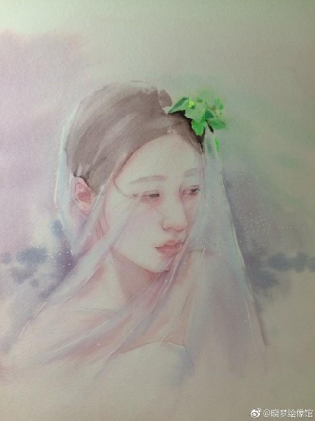 披着婚纱头巾的唯美少女水彩插画教程图片 上色步骤过程_www.youyix.com