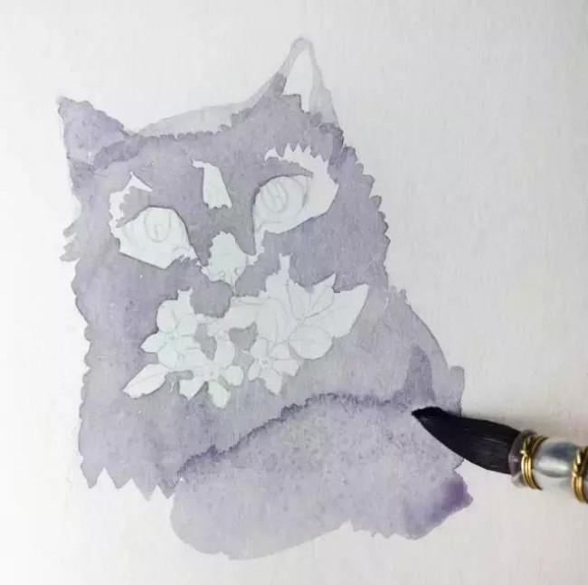 优雅气质黑色猫咪水彩画教程图片 带上色步骤 贵族气质啊_www.youyix.com
