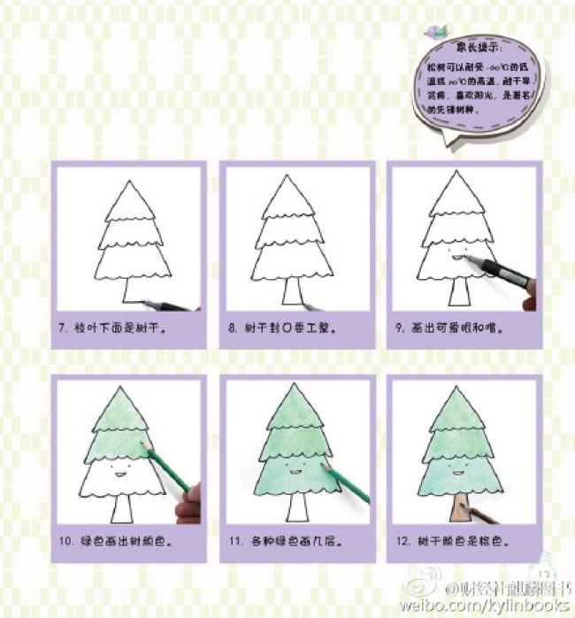 松树简笔画 松树的画法 松树卡通画儿童画手绘教程 松树怎么画