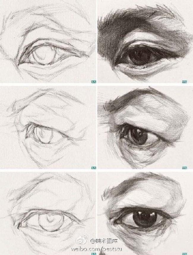 素描眼睛的画法 眼睛的素描结构展示图片多款 眼睛的素描教程步骤_www.youyix.com
