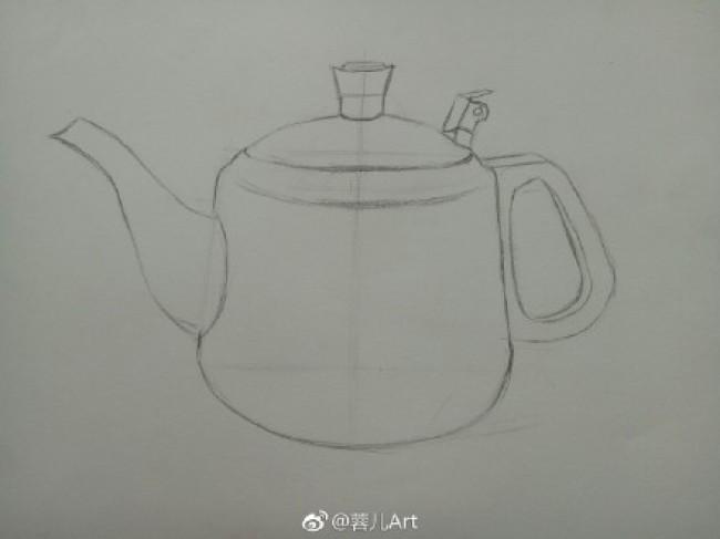 不锈钢水壶素描质感表现教程 素描不锈钢壶怎么画 不锈钢材质的素描