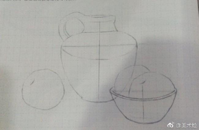 陶瓷罐子与水果组合静物素描的画法 陶瓷质感的画法 比例构图图片