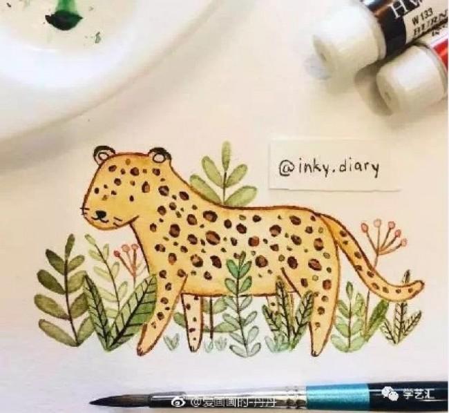 小动物水彩简笔画图片 多个可爱的小动物水彩简笔卡通儿童画图片_www.youyix.com
