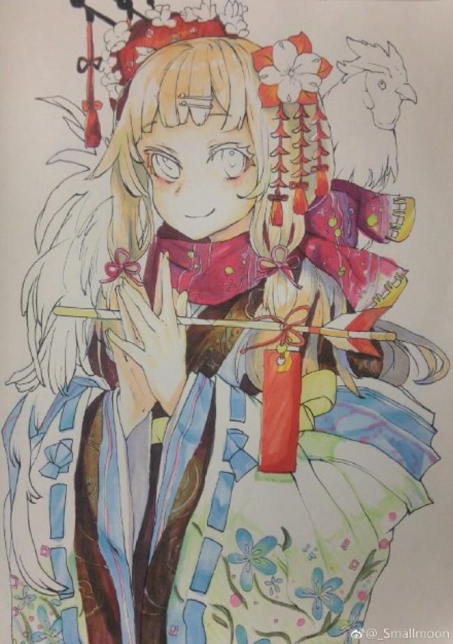 超萌的中国风二次元妹子马克笔上色手绘教程步骤图片演示_www.youyix.com