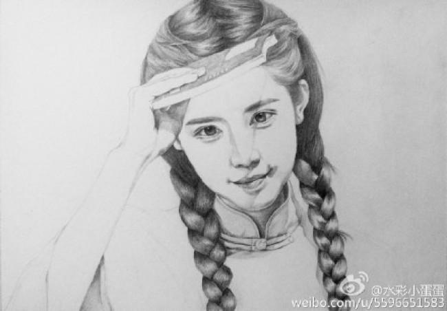 清纯水灵的双马尾古典女孩素描头像手绘画法教程图片_www.youyix.com