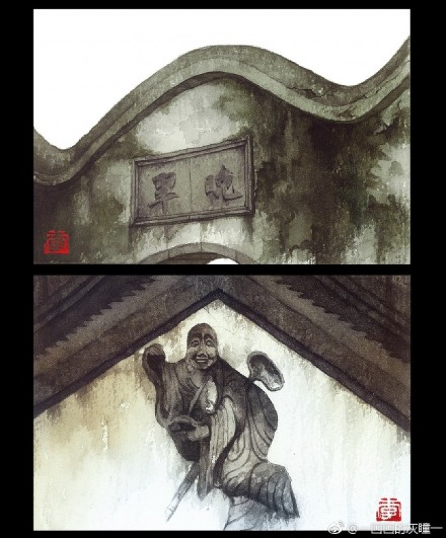中国传统建筑水彩写实图片素材 细节特写展示 屋檐门头细节_www.youyix.com
